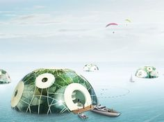 Bloom Aquatic Farm is a concept semi submersible sphere platform for the year of 2050 where sea level might rise more than 1 meter due to global warming.
