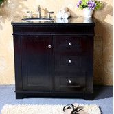 "Understated small vanity in espresso and white - black  or Egypt beige granite counter top 36"" Single Bathroom Vanity Set"