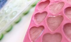 Coconut water ice cubes with heart and regular shaped ice cube trays