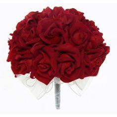 Red Silk Rose Hand Tie (3 Dozen Roses) - Wedding Bouquet