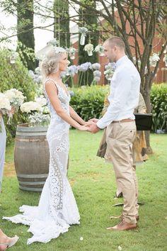 Jane Hill Lottie Lace Wedding Dress Willow Creek Winery Barrel Room Rustic Wedding