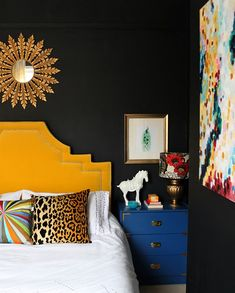 black walls with bright colored accents