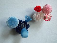 "MARIKO KUSUMOTO BROOCHES  Polyester, silver  Left: 2.7"" x 2.4"" x 1.5"" Right: 2"" x 1.8"" x 1.4"""