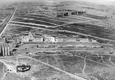 """Aerial shot of MGM's Circus Maximus set for """"Ben-Hur"""" at La Cienega and Venice Boulevards, Los Angeles, 1924 Garden Of Allah, Circus Maximus, Las Vegas, Memory Album, The Golden Years, Vintage Photographs, Old Hollywood, Venice, Behind The Scenes"""