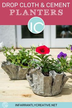 Learn how to make diy cement planters. They make the coolest textured pots. They are easy but super messy to make. The sizes and possibilities are only limited by the containers you have. I love the juxtaposition of the bright flowers with the rough texture of cement. Diy Cement Planters, Cement Flower Pots, Cement Crafts, Mexican Garden, Knock Off Decor, English Flower Garden, Bright Flowers, Pinterest Diy, How To Make Diy