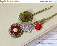 Christmas Flower Hair Pins, Czech Glass Flower Bobby Pins, Rhinestone Flower Bobby Pins, Pearl Hair Pins, Red Green Silver, KreatedbyKelly