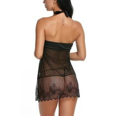 a56766a36 Women Halter Lace Strap Chemise Babydoll Dress Lingerie Set - Black -  CJ12GY3HI67