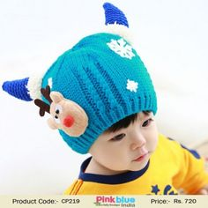 8328aa19ccf Designer Blue Knitted Indian Kids Winter Cap with Horns. Crochet Baby Hats  ...