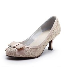awesome Women's Lace/ Satin Upper Stiletto Heel Closed Toe With Lace Wedding Bridal Shoes