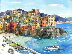 Boccadasse Italy art print from an original by AndreVoyy on Etsy, $20.00