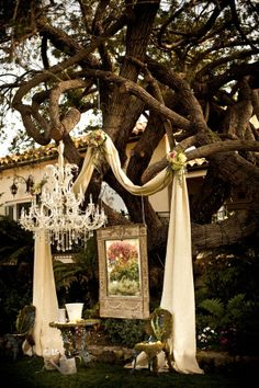 Lovely outdoor wedding design! Love the fabric.