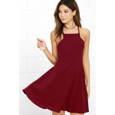 Call to Charms Wine Red Skater Dress ($54) ❤ liked on Polyvore featuring dresses, red, skater skirts, flared skirt, red skater skirt, flared skater skirt and red skater dress