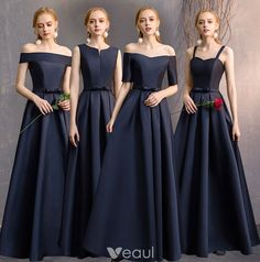 Modest / Simple Navy Blue A-Line / Princess Bridesmaid Dresses 2019 Bow Backless Floor-Length / Long Wedding Party Dresses