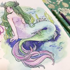 Guys, I've been at #eccc and gonna post haul of everything I got tomorrow, but first I have to tell you about new Copic multiliners I got, specifically - olive color! Omg, it's so pretty, I've started sketching this cutie on a plane back home!! Pretty hyped to draw more greens with it #watercolor #mermaid #artistsoninstagram