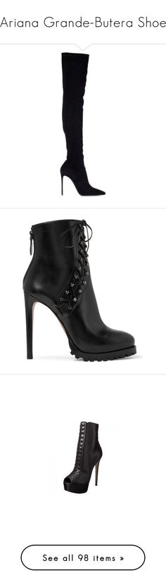 """""""Ariana Grande-Butera Shoe"""" by taught-to-fly19 on Polyvore featuring shoes, boots, ankle booties, heels, ankle boots, booties, black, black leather booties, black ankle boots e black high heel boots"""