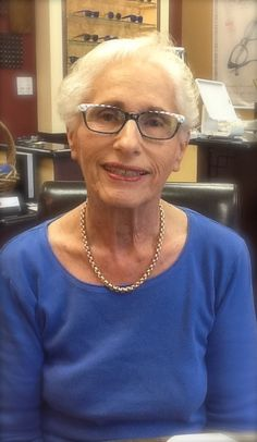 709f0ff649 Stylin at any age! These black and white Etnia s make Gloria s grey hair an  asset