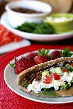 Quick and Easy Gyros.  I'm gonna stick with my tried and true tzaziki recipe, but the beef idea here is intriguing and worth a try for sure.  I love me a good gyro.