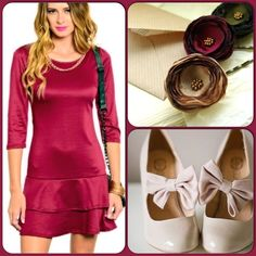 Adorable Burgundy Dress-Clearance Item This dress features quarter sleeves and double tier style skirt. Comfy knit material 95% Polyester, 5% Spandex. (This closet does not trade or use PayPal) Love Republic Dresses Midi