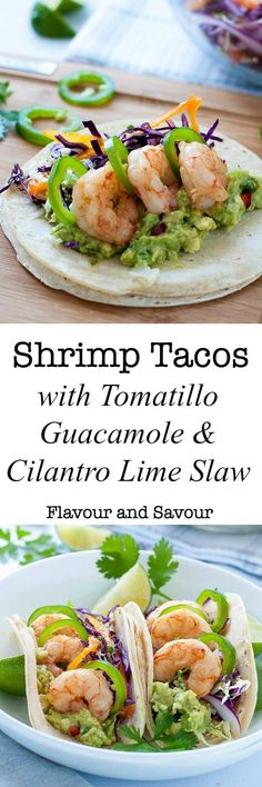 These Shrimp Tacos are loaded with zesty Tomatillo Guacamole, Cilantro Lime Slaw and garlicky buttered shrimp. Top them off with fresh jalapeño slices and a squeeze of lime. via @enessman