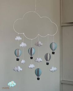 winter clouds hot air balloons baby mobile - baby mobile, clouds baby mobile - My Website 2020 Baby Shower Balloons, Baby Shower Themes, Baby Boy Shower, Baby Crib Mobile, Baby Cribs, Mobile Mobile, Baby Mobiles, Baby Room Decor, Bedroom Decor