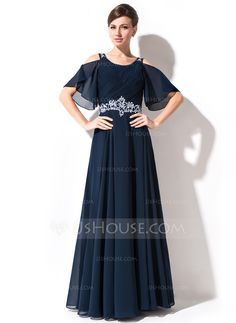 A-Line/Princess Scoop Neck Floor-Length Lace Beading Sequins Cascading Ruffles Zipper Up at Side Sleeves Sleeves No 2015 Dark Navy Spring Summer Fall General Plus Chiffon Mother of the Bride Dress Mob Dresses, Cute Dresses, Beautiful Dresses, Bride Dresses, Asian Prom Dress, Beaded Lace, Lace Beading, Renda Beading, Vestidos Mob