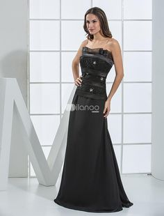 Black Floor Length Strapless Chiffon A-line Satin Evening Dresses. Black Floor Length Strapless Chiffon A-line Satin Evening Dresses. See More Strapless at http://www.ourgreatshop.com/Strapless-C967.aspx