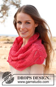"Pink - Knitted DROPS shoulder warmer in garter st with lace pattern in ""Paris"". - Free pattern by DROPS Design"