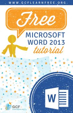 FREE Tutorial for Microsoft Word 2013. Powerful tools to create professional and eye-catching documents both for print and online sharing. From @GCFLearnFree.org. This is an EXCELLENT & INFORMATIVE WEBSITE!! I recommend you Bookmark it to refer to often!