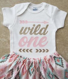 Wild One Tribal Princess First Birthday Outfit - onesie and skirt, girl birthday outfit, pink gold, arrow, aztec, pow wow