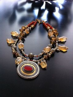 """ROX Carnelian, Brass and Silver Pashtun Pendant Necklace with Carnelian, Citrine and Afghan Brass and Filigree Beads. 19""""  $325"""