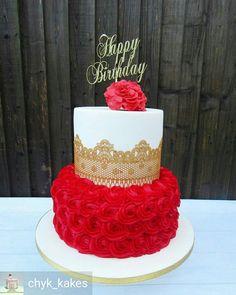 Birthday Party Food Ideas For Teens Dessert Tables Trendy Ideas Elegant Birthday Cakes, Red Birthday Cakes, Beautiful Birthday Cakes, Birthday Cakes For Teens, Gorgeous Cakes, Pretty Cakes, Happy Birthday, Wedding Anniversary Cakes, Wedding Cakes