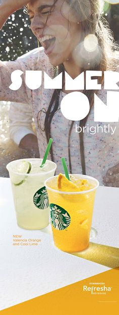 starbucks ad summer - Google Search Starbucks Case, Valencia Orange, Soda Brands, Commercial Ads, Food Service, Iced Tea, Print Ads, Beverages, Drinks