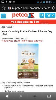 Natures variety prairie venison &barley dog food