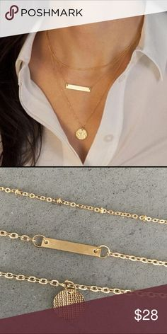 **New Arrival** 3 Layer Gold Necklace Perfectly layered 3-layer gold necklace.  A beautiful accessory to any outfit.  Includes the gold bar a hot style right now.  14k gold plated.  Pictures are of actual necklaces. Jewelry Necklaces