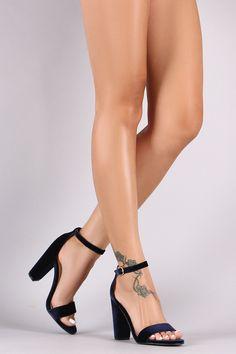 Bamboo Velvet Open Toe Chunky Heel