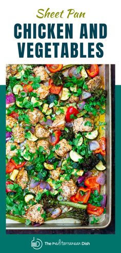 Simple, no fuss sheet pan chicken and vegetables, prepared Italian-style with garlic and herbs. Ready in 30 minutes or less! Toss it with your favorite pasta or grain for a quick dinner. You can also prepare it ahead and divide it up into smaller lunch portions. Chicken Lunch Recipes, Vegetarian Recipes Easy, Healthy Recipes, Healthy Dishes, Dinner Recipes, Healthy Weeknight Meals, Healthy Meals For Kids, Easy Meals, Healthy Eating