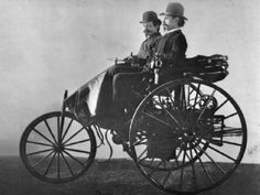 """Karl Benz patents his """"vehicle powered by a gas engine"""" on January 29, 1886. It's considered to be the first automobile."""