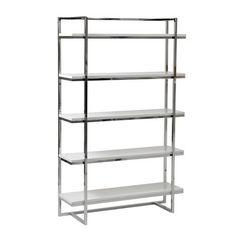 Gilbert White Lacquer Five Shelf Unit Free Standing Shelves & Bookcases Home Office Furni
