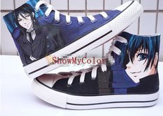 Black Butler anime Custom Converse Shoes, Kuroshitsuji Shoes, Sebastian Michaelis and Ciel Phantomhive hand painted shoes, best shoes.