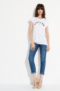 C'est si bon Raw Crew Tee by bon label. Summer 16.17. organic. ethical fashion. made in australia. parisian inspired. good for womankind | t-shirt, tshirt, white, franch, basics, organic, cotton, parisian style | SHOP bonlabel.com.au