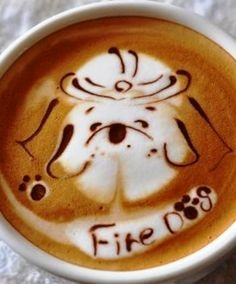 .·:*¨¨*:·. Coffee ♥ Art .·:*¨¨*:·.  Fire dog latte