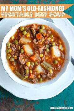 My Mom's Old-Fashioned Vegetable Beef Soup is one of my all-time favorite soup recipes. It's super simple homemade vegetable beef soup recipe and makes enough to freeze! soup My Mom's Old-Fashioned Vegetable Beef Soup - Smile Sandwich Beef Soup Recipes, Slow Cooker Recipes, Crockpot Recipes, Dinner Recipes, Cooking Recipes, Healthy Recipes, Healthy Soup, Delicious Recipes, Easy Recipes