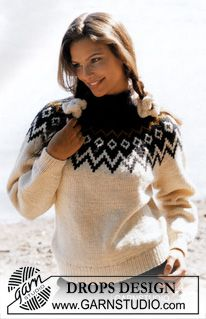 DROPS sweater with round yoke in Alaska Free tutorials from DROPS Design. - DROPS sweater with round yoke in Alaska Free tutorials from DROPS Design. Fair Isle Knitting Patterns, Sweater Knitting Patterns, Easy Knitting, Knitting Stitches, Knit Patterns, Crochet Pullover Pattern, Knit Crochet, Drops Design, Jaquard Tricot