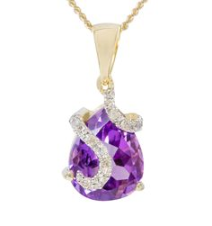 9ct Yellow Gold Amethyst  Diamond Trickle Pendant only $106 - purejewels.com.au