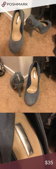 H by Halston Blue Pump 7.5 H by Halston Blue Suede Pumps with pretty silver metal detail on back 7.5 H by Halston Shoes Heels