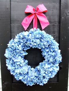 Blue Hydrangea Wreath by MonicaMurrayHome on Etsy, $60.00  Love the pink bow!!