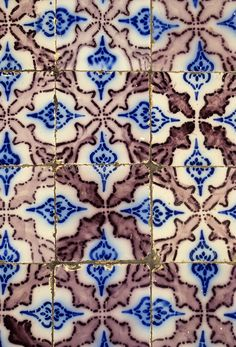Ceramics, Sidi Bou Said, Tunisia.  Old Nabeul Tiles in Local Home, Splattered with White Paint Flecks.