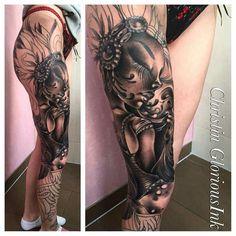 Full leg tattoo by Christin GloriousInk