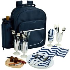 Picnic at Ascot 4 Person Picnic Backpack - Navy/Chevron - 081-SCB