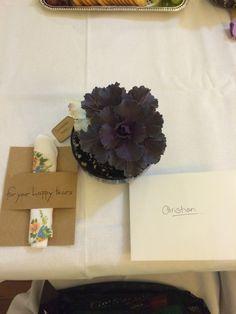 Bridemaids rehearsal dinner place setting. Ornamental kale, handkerchief and thank you note. #realweddings #mmhbwedding2014